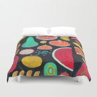 fruit Duvet Covers featuring Fruit by Mouni Feddag