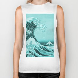 Aqua Blue Japanese Great Wave off Kanagawa by Hokusai Biker Tank