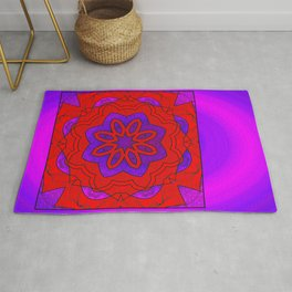 Red Lace on Purple Rug