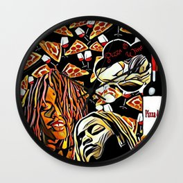 Pizza and Wine Design Wall Clock
