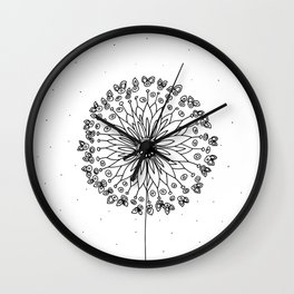 Black Dandelion Wall Clock