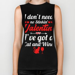 Valentine Shirt For Cat And Wine Lover. Biker Tank