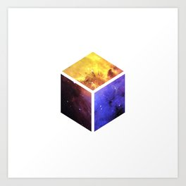 Nebula Cube - White Art Print