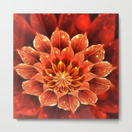 Red Dahlia Fractal Flower with Beautiful Bokeh (Vivid Crimson) Metal Print