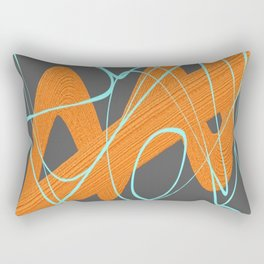 Grey orange and blue Rectangular Pillow