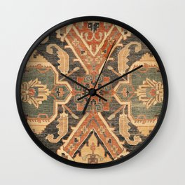 Geometric Leaves III // 18th Century Distressed Red Blue Green Colorful Ornate Accent Rug Pattern Wall Clock