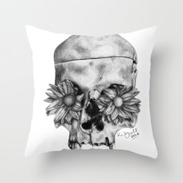 Skull and Flowers Drawing Throw Pillow