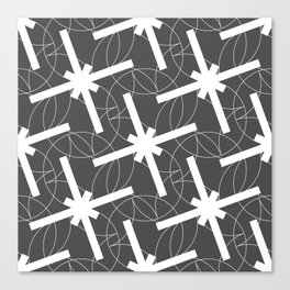 Seamless Geometric White Abstract Pattern on Black Background Canvas Print