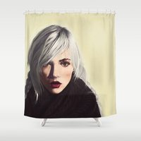 indiana Shower Curtains featuring indiana girl by TMKSCH