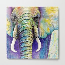 Close up Elephant Watercolor Metal Print