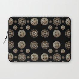 Many Rose-Gold Mandalas on Black Background Textile Laptop Sleeve
