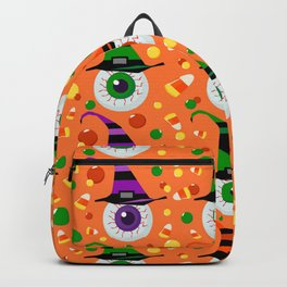 Eyes with hat in candyland on orange Backpack