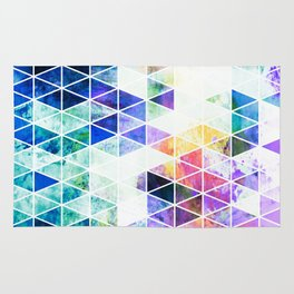 Grungy Bright Triangle Pattern Rug