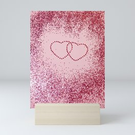In Love Sparkling Glitter Hearts #2 #red #decor #art #society6 Mini Art Print