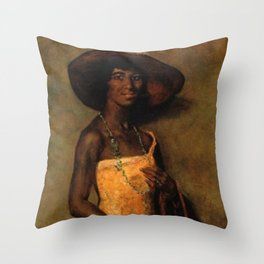 African American Portrait 'Woman in a yellow dress' by Simon Maris Throw Pillow