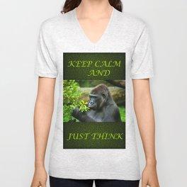 Thinker- gorilla  Unisex V-Neck