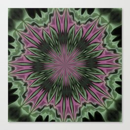 Rose and Jade Floral Fantasy Mandala Pattern Canvas Print