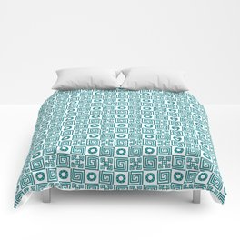 Lines and shapes - Dark Teal Comforters