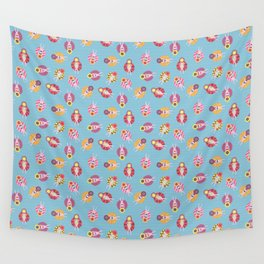 Floating in the Pool Pattern. Women on colorful floaties. Wall Tapestry