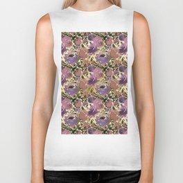 Botanical lavender purple ivory brown floral Biker Tank