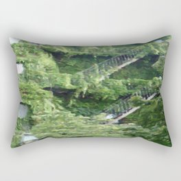Green Ivy Covered Building In Boston Rectangular Pillow