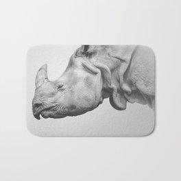 Rhino Art | Minimalism | Black and White | Animal Photography Bath Mat
