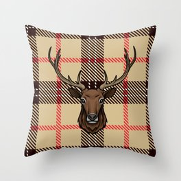 stag head with  plaid Throw Pillow