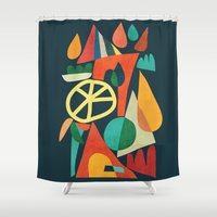 house Shower Curtains featuring Summer Fun House by Picomodi