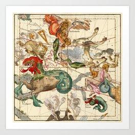 Cetus, Aquarius, Andromeda, Pegasus, Phoenix, Aries, Triangulum And Other Constellations Art Print