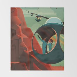 THE VOLCANO OF MARS - Olympus Mons | Space | X | Retro | Vintage | Futurism | Sci-Fi Throw Blanket
