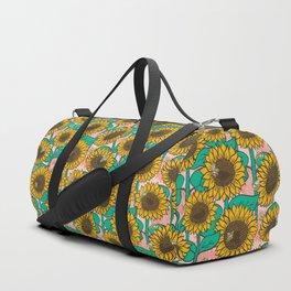 Cheery Sunflowers on Pink Duffle Bag