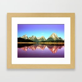 Grand Tetons 🌄 Purple Reflection Framed Art Print