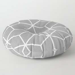 Light Grey and White - Geometric Textured Cube Design Floor Pillow