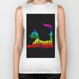 Rainbow Tribal Cat Biker Tank