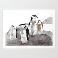 penguins Art Prints featuring Penguins by Jamie Mitchell