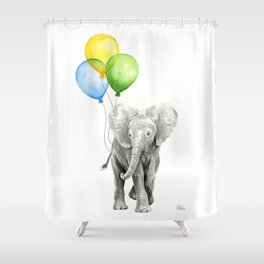 Elephant with Three Balloons Shower Curtain