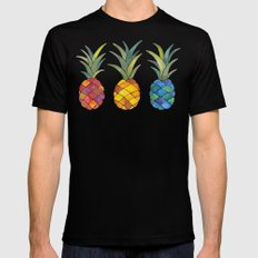 Pineapples LARGE Black Mens Fitted Tee