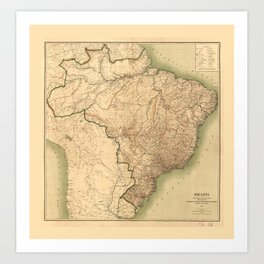 Map of Brazil (1905) Art Print