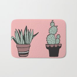 Cactus and Aloe Vera on pink Bath Mat