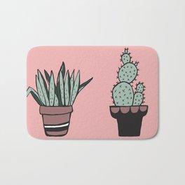 Cactus and Aloe Vera on pink Bath Mat