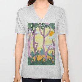The trees surrounded me and I could see straight through them Unisex V-Neck