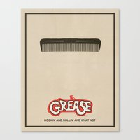 grease Canvas Prints featuring Grease - Minimalist Movie Poster by Finlay McNevin