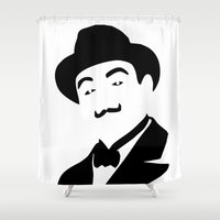hercules Shower Curtains featuring Hercules Poirot by b & c