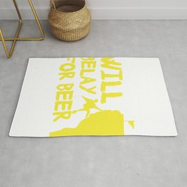 Will Belay For Beer Funny Rock Climbing Rug