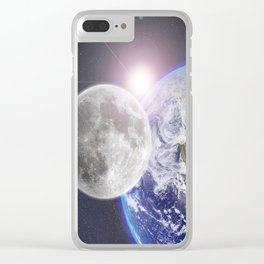 Space Travel Earth Moon Clear iPhone Case