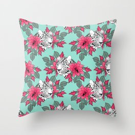 Stylish leopard and cactus flower pattern Throw Pillow