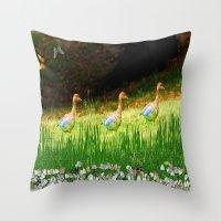 ducks Throw Pillows featuring Ducks by Raffaella315