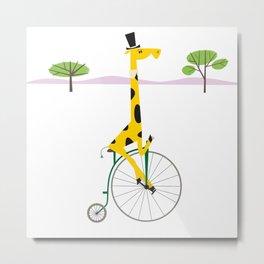 Penny Farthing Giraffe Metal Print