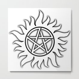 Anti Possession Sigil Black Glow Transp Metal Print