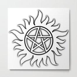 Anti Possession Sigil Black Glow Transp Metal Print